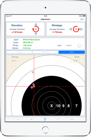 iPad Adjustment with different windage/elevation click settings